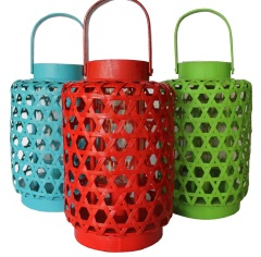 Rattan coloured lanterns