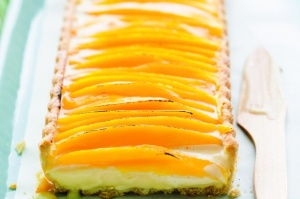 Mango and lemongrass tart with coconut pastry