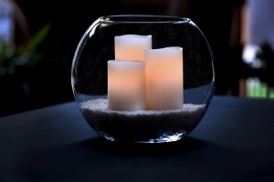 Candles in Glass Bowl