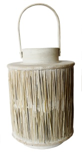 Whitewashed wicker lantern