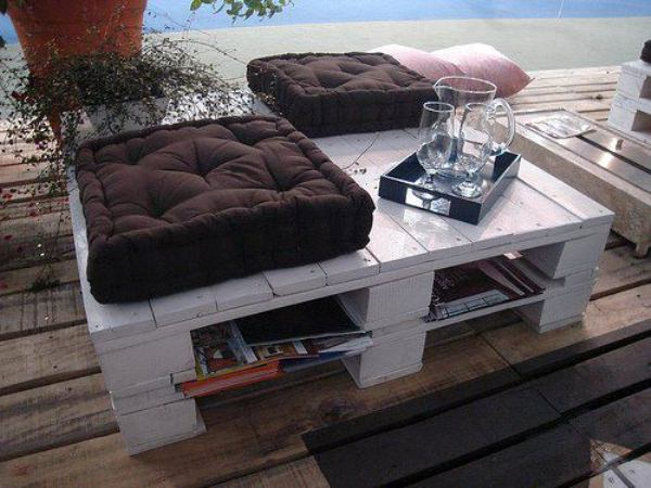 Outdoor pallet seating and coffee table