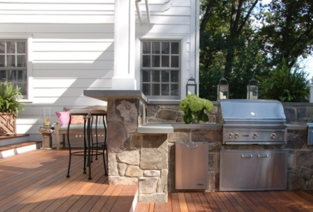 Classic stone built in BBQ