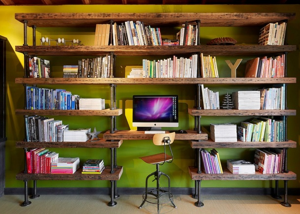 studio shelving and office by Schmitt + Company/Poor House General Contractors